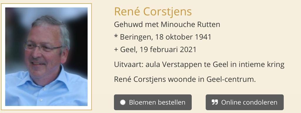 Overlijden René Corstjens